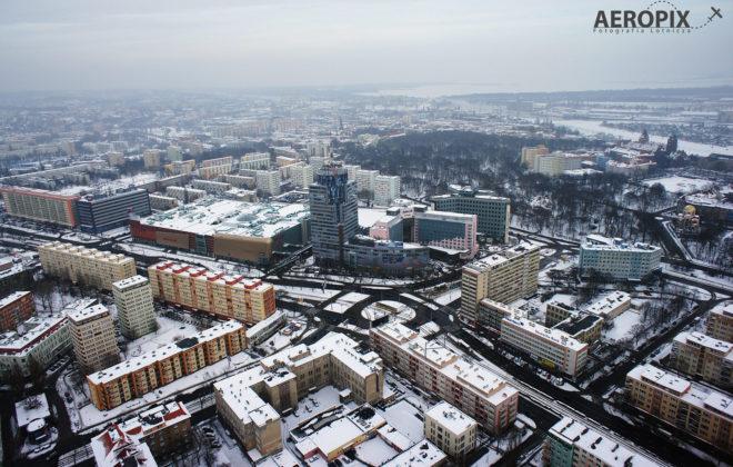 Widok z drona na PAZIM w Szczecinie